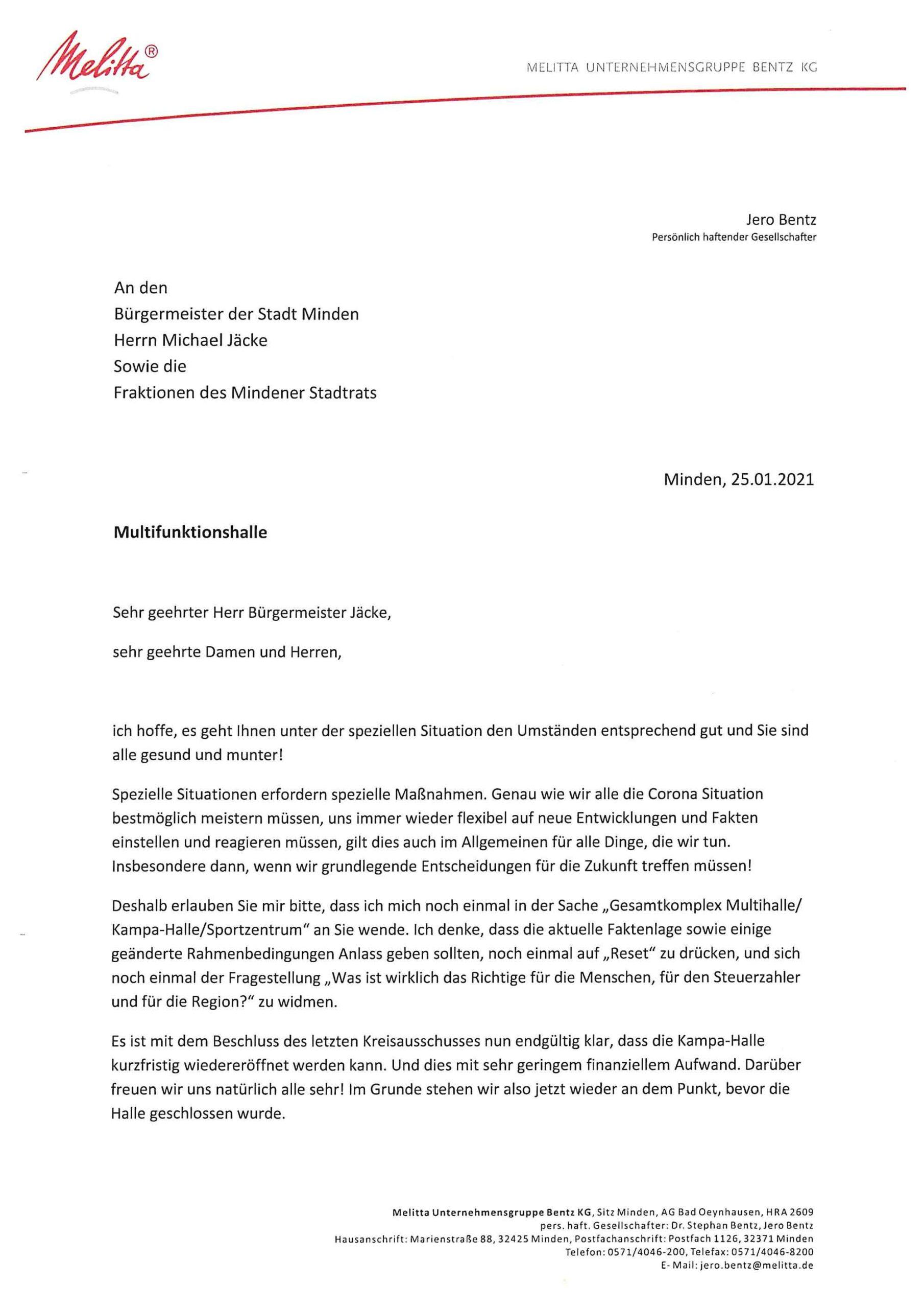 Seite 1 des Briefs von jero bentz an Bürgermeister und Stadrat