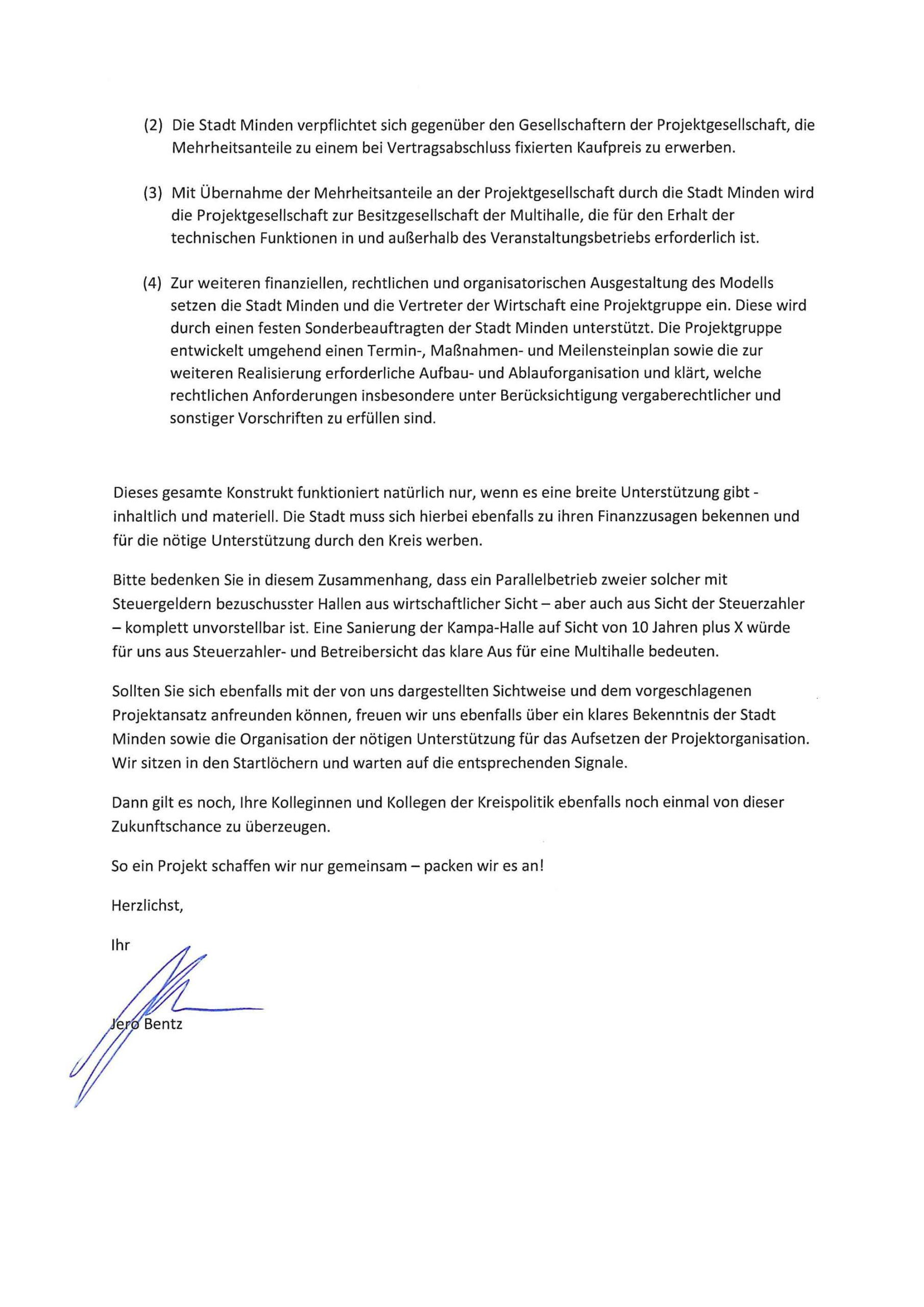 Seite 2 des Briefs von Jero Bentz an Bürgermeister und Rat Minden
