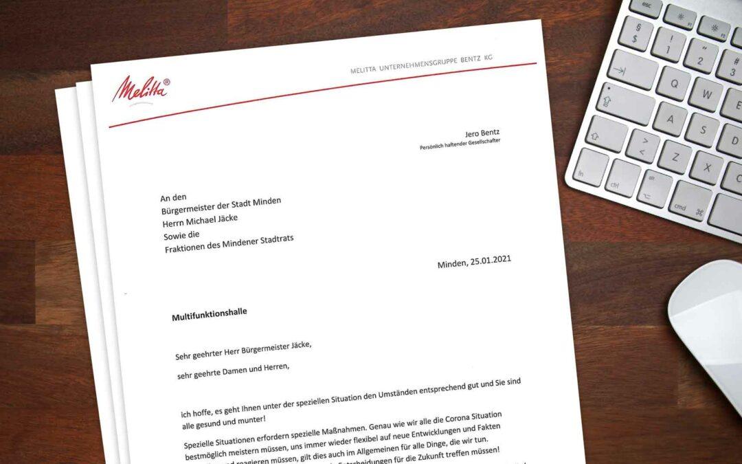 Der geheime Brief von Melitta-Chef Jero Bentz an Bürgermeister und Rat im Original abgebildet